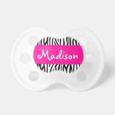 Personalized Zebra Pink Pacifier at Zazzle