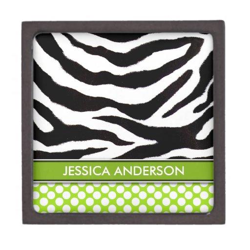 Personalized Zebra Polka Dots Jewelry Box Premium Gift Box