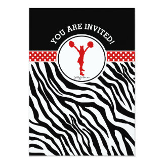 Personalized Zebra Print Cheer or Pom in Red Card