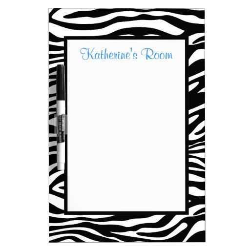 Personalized Zebra Print Dry Erase Whiteboard