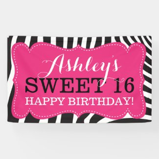 Personalized Zebra Print Sweet 16 Birthday Banner