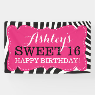 Personalized Zebra Print Sweet 16 Birthday Banner
