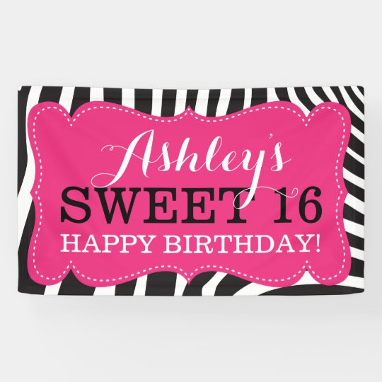 personalized zebra print sweet 16 birthday banner. Black Bedroom Furniture Sets. Home Design Ideas