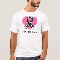 Personalized Zebra Ribbon Heart T-Shirt