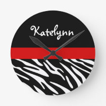 Personalized Zebra Stripe with Red Wall Clock