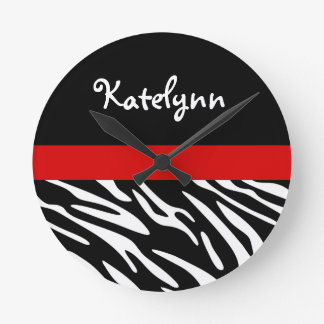 Personalized Zebra Stripe with Red Wall Clock
