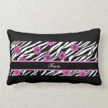Personalized Zebra Striped Flower Lumbar Pillow