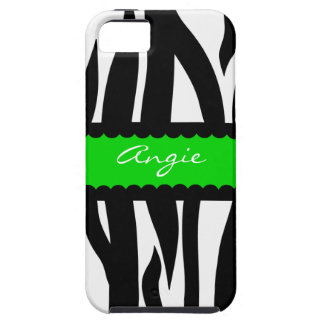 Personalized Zebra Striped Pattern - Green iPhone 5 Cover