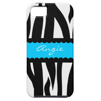 Personalized Zebra Striped Pattern - Turquoise iPhone SE/5/5s Case