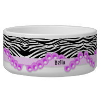 Personalized Zebra Stripes and Pink Pearls Bowl
