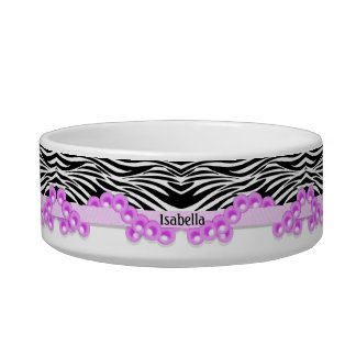 Personalized Zebra Stripes and Pink Pearls Pet Food Bowls