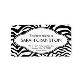 Personalized Zebra Stripes Pattern Bookplate Custom Address Labels