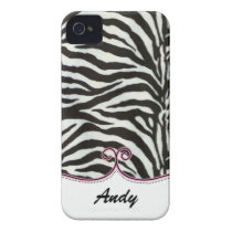 personalized zebra stripes pink trendy Case-Mate iPhone 4 case