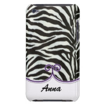 personalized zebra stripes purple trendy iPod touch cover