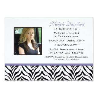 Personalized: Zebra Sweet 16 Party Invitation