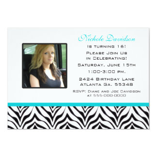 Personalized Zebra Sweet 16 Party Invitations