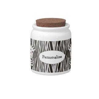 Personalized Zebras Animal Print Candy Jar