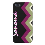 Personalized Zig-Zag  iPhone Case - Sage Burgundy iPhone 5 Covers