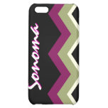 Personalized Zig-Zag  iPhone Case - Sage Burgundy Case For iPhone 5C
