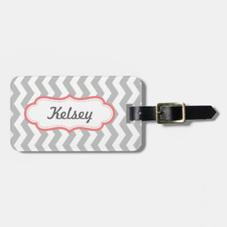 Personalized Zigzag Gray and Coral Stripes Bag Tag