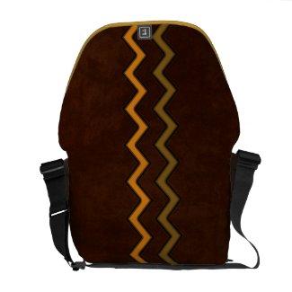 Personalized Zigzag Orange & Olive on Brown rickshawmessengerbag
