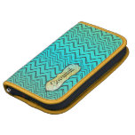 Personalized Zigzag Pattern Yellow and Aqua Folio Planners