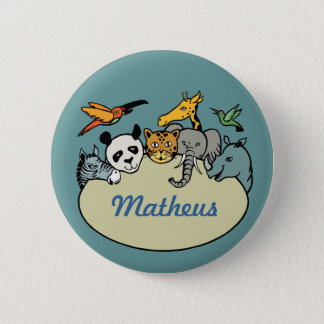 personalized zoo family animals button