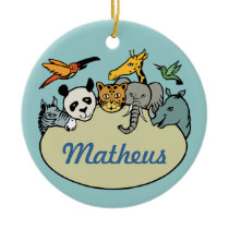 personalized zoo family animals ceramic ornament