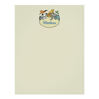 personalized zoo family animals letterhead