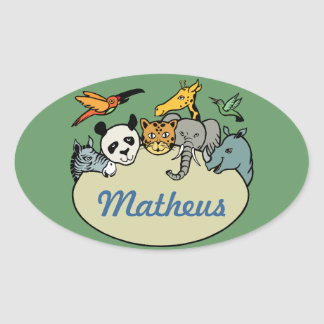 personalized zoo family animals oval sticker