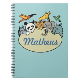 personalized zoo family animals spiral notebook
