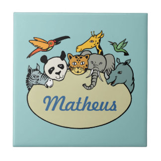 personalized zoo family animals tile
