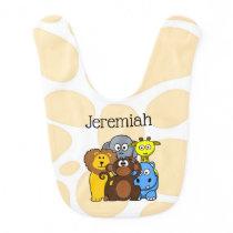 Personalized Zoo or Jungle Animals Baby Bib