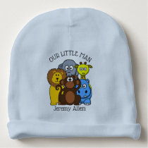 Personalized Zoo or Jungle Animals Baby Newborn Ca Baby Beanie