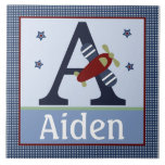 Personalized Zoom Along Airplane Letter Name Tile