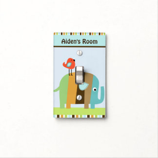Personalized Zutano Striped Elephant Switch Plate Switch Plate Cover