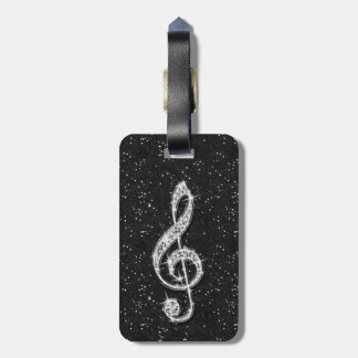 Personalizedd Glitzy Sparkly Diamond Music Note Luggage Tag