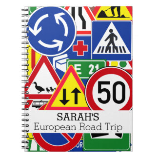 PersonalizedFun European Road Signs Travel Journal