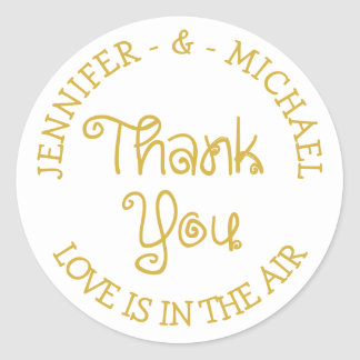 PersonalizedGold And White Thank You Love Stickers