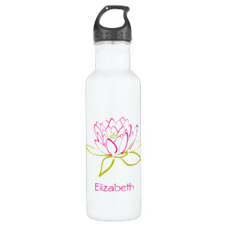 PersonalizedLotus Flower / Water Lily Illustration Stainless Steel Water Bottle