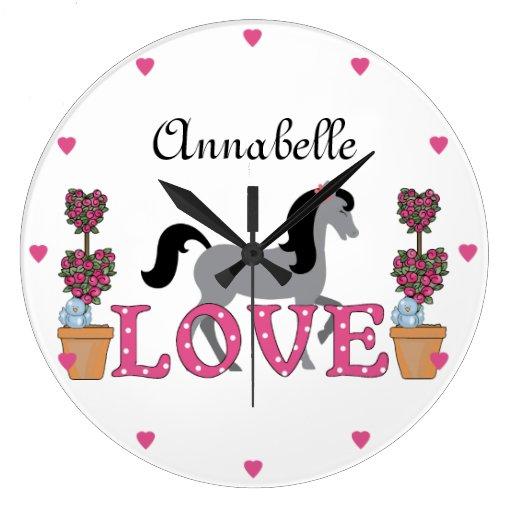 Personalizó el reloj bonito del caballo del amor