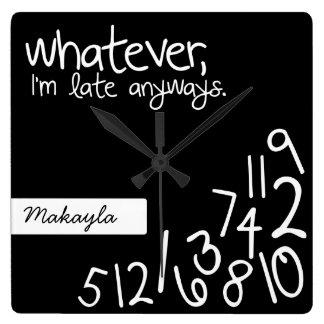 Personalizó lo que, yo son atrasados de todos reloj cuadrado