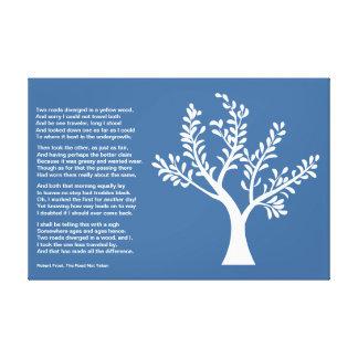 PersonalTrees - azul de la pizarra - árbol del poe Impresión En Lienzo Estirada