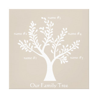 PersonalTrees Cool Gray  Family Tree Canvas Stretched Canvas Print