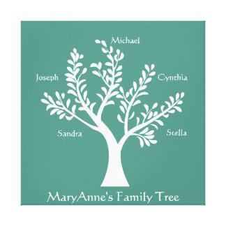 PersonalTrees Turquoise Family Tree Canvas Print