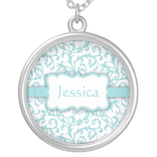 Personalzed Blue and White Damask Necklace