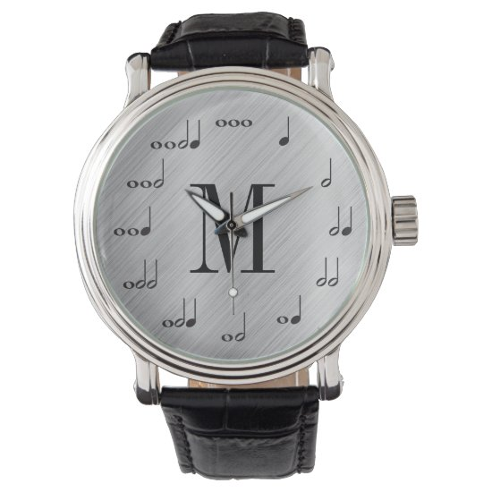 Personalzied Monogram Music Note Wristwatch