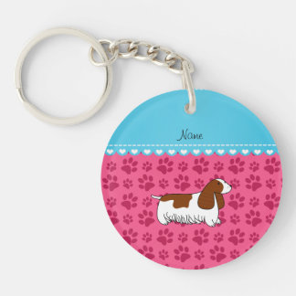Personalzied name cocker spaniel pink paws Double-Sided round acrylic keychain
