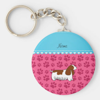 Personalzied name cocker spaniel pink paws basic round button keychain