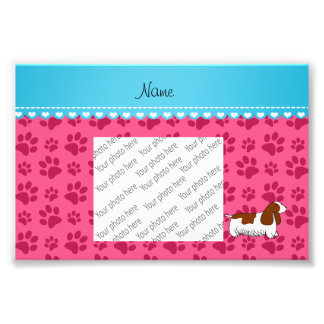 Personalzied name cocker spaniel pink paws art photo